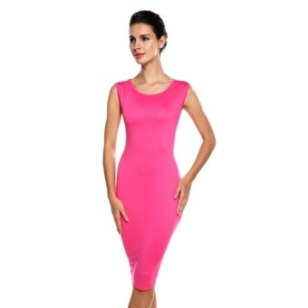 Cyber Angvns Women Elegant Slim Round Neck Sleeveless Stretch Solid Pencil Party Evening Dress (Rose Red) - Intl