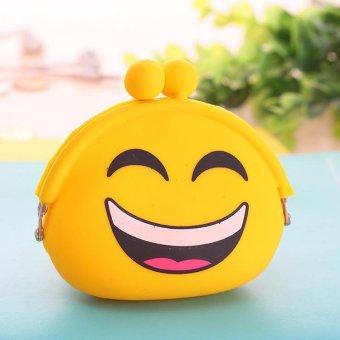 Cute Fashion Cartoon Face Emotion Design Coin Purse Women Silicone Money Headset Key Bag- #1 - intl