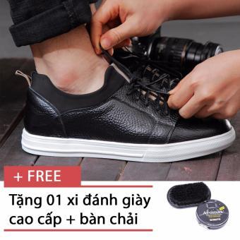 Giày sneaker nam chất liệu da Smartmen SM-04 (Đen), tặng kèm 1 hộp xi, 1 bàn chải đánh giày
