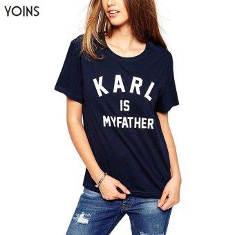 YOINS Casual Women Fashion Summer Basic Letter Print T-shirt Ladies Lesuire Short Sleeve Round Neck Tops Blouse Shirt S-XXL - intl