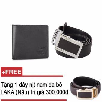 Bộ ví và thắt lưng nam da bò thật LAKA đen trơn + Tặng 1 thắt lưng nam da bò LAKA (Nâu trơn) trị giá 300000 CB01TL02