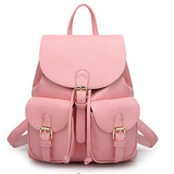 2016 New Women Leather Backpacks Bolsas Mochila Feminina Large Girls Schoolbag Travel Bag Pink - Intl - intl