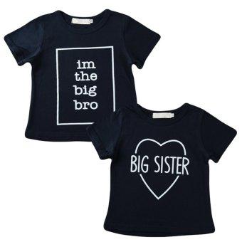 Boys Kids T-shirt Top Letter Print O-Neck Short Sleeve Pullover Cute Casual Children Shirt Dark Blue - intl