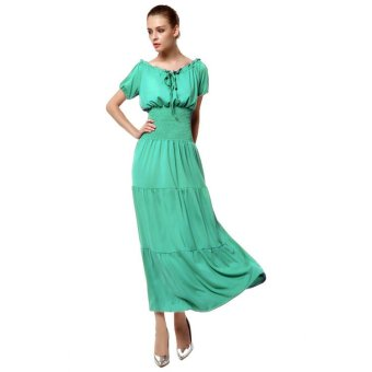Cyber Meaneor Women Short Sleeve Tunic Ruffle Elastic Solid Maxi Dress ( Light Green ) - Intl