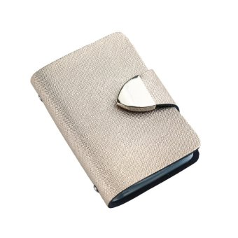 New Fashion Women Card ID Holder Faux Leather Fold Design Multiple Card Slots Business Card Holder - intl
