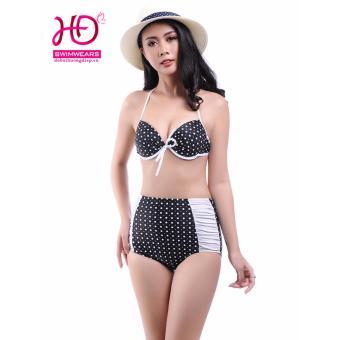 Bikini cạp cao họa tiết chấm bi trắng 17008