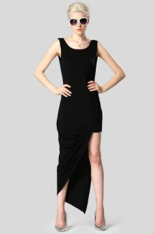 Sunweb Finejo Stylish Lady Women Irregular Sleeveless O-neck High Split Asymmetric Hem Dress ( ) - intl