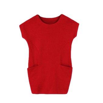 New Europe Women Casual Dress Side Pockets O-Neck Short Sleeve Loose Dress Red - Intl