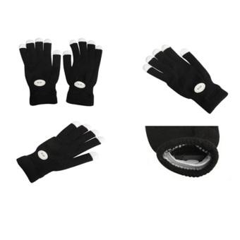 Flashing Gloves Glow 7 Mode Rave Light Finger Lighting Mitt Black - Intl