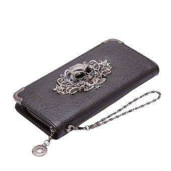 LALANG PU Leather Punk Zipper Skull Wallet Purse Card Holder Black - intl
