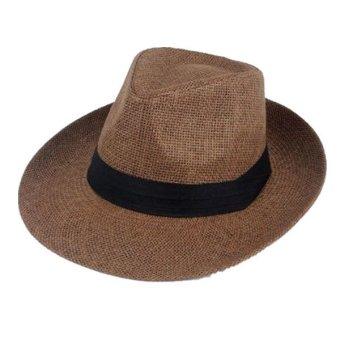 Unisex Fedora Trilby Large Brim Beach Straw Hats Dark Coffee (turn up) - Intl