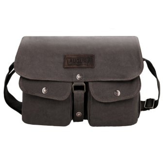 Cyber Vintage Style Unisex Canvas Messenger Travel School Casual Shoulder Bag (Grey) - Intl
