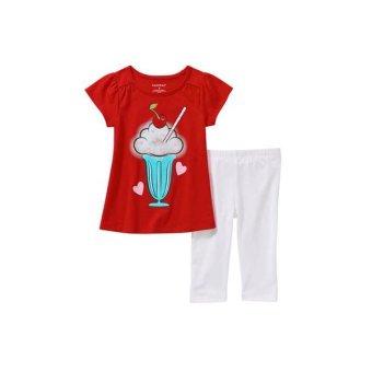 Bộ áo quần thun bé gái Trắng Đỏ – Healthtex