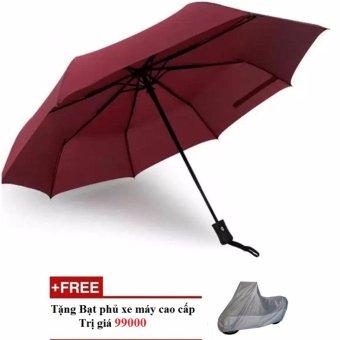 Ô đi mưa đóng mở tự động 2 chiều KL (Đỏ rượu vang)+ Tặng bạt phủ xe máy cao cấp