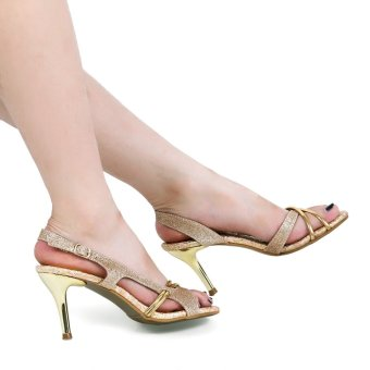 Crapemyrtle Paillette Design Open Toe Ankle Strap High Heel Sandals(Golden)--TC - intl