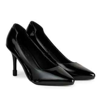Giày Nữ Gót Nhọn Hậu Chữ U HC1324 (Đen)