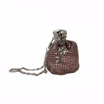 Lady Bucket Handbag Mini Aluminum Shoulder Bag Evening Party Bling Clutch Purse Coffee - intl