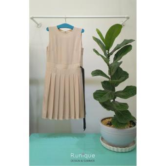 Đầm TUNIC VOAN PHỐI NƠ EO ĐEN (Màu nude)