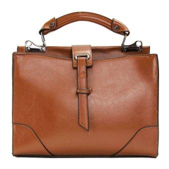 Fashion Women Handbag Shoulder Large Tote Purse Leather Messenger Crossbody Bag Brown - intl