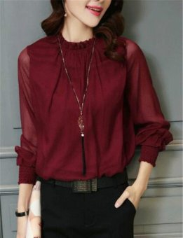 Chiffon Blouse 2017 New Women Tops Long Sleeve Stand Neck Work Wear Shirts Elegant Lady Blouses (Fuchsia) - intl