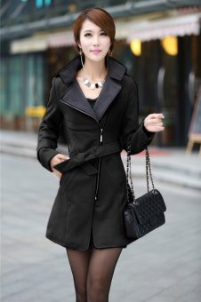 Cyber FINEJO Fashion Women Casual Solid Wool Blend Long Coat Trench Outwear With Belt(Black) - Intl