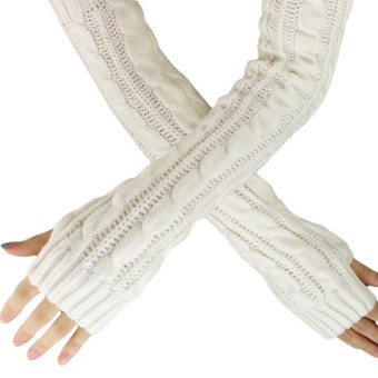 Hemp Flowers Fingerless Knitted Long Gloves White - Intl