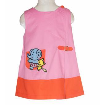 Đầm chữ A kaki đính túi bé gái 2-9 tuổi DBG044 (Cam Nhạt)