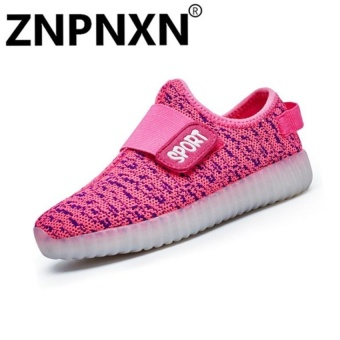Fashion Sneakers Comfort Children Usb Led Flash Casualsneakers Size 25-37(Pink) - intl