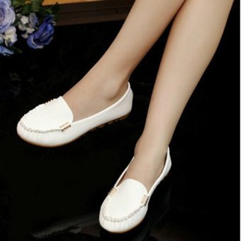 2015 Women Artificial Leather Flats Slip On Moccasins Ballet Loafer Boat Shoes - intl