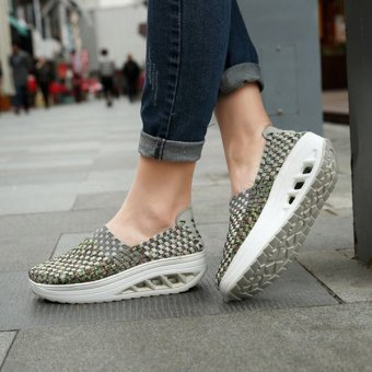 Colorful Rocker Sole Shoes Handmade Knit Shake Shoes Casual Slip On Sneakers Green - intl