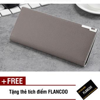 Bóp ví nam dài da PU Flancoo 9083 (Xám) + Tặng kèm thẻ tích điểm Flancoo