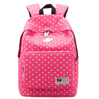 Cute Polka Dot Women Canvas Backpack Satchel Rucksack Schoolbag Leisure Travel Shoulder Bag Rose
