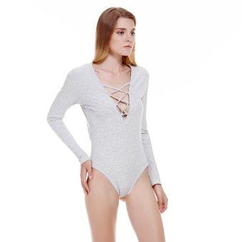 Autumn Winter Knitted Long Sleeve Women Deep V Neck y Playsuit Gray L - Intl - intl