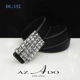 Dây lưng da bò DL:152, thời trang Azado (dây đen mặt bạc)