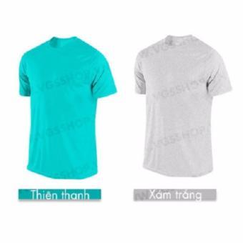 Bộ 2 áo thun LAKA A1316 (Xanh Ngọc + Xám Trắng)