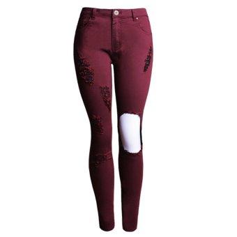 Women High Waisted Skinny Ripped Denim Pants - intl