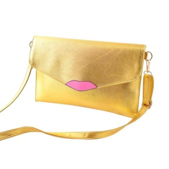 Fashion Women PU Leather Lips Style Envelope Bag Clutch Purse Crossbody Messenger Shoulder Bags Gold - Intl - intl
