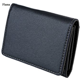 Flama Novelty Mini Card Wallet Solid Color Zigzag Folding Men(Black) - intl