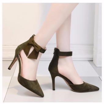 Giày cao gót kéo khóa nơ bên hông