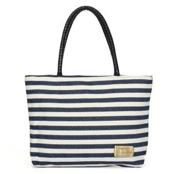 uropean and American Fashion Striped Canvas Bags Women's Casual Lady Beach Bag Handbags Blue - intl