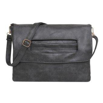 Fashion PU Leather Retro Clutch Bag Crossbody Bag (Grey) - intl