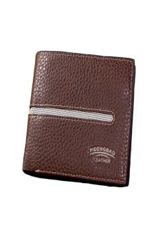 HKS Mens Lichee Pattern Bifold Business Leather Wallet Coffee - intl
