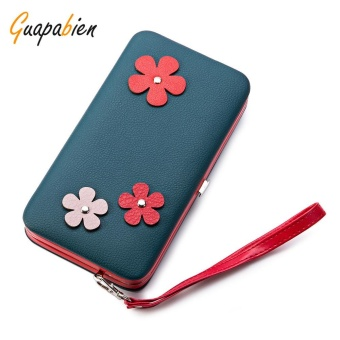 Guapabien Lovely Flower Applique Portable Clutch Women Purse Wallet(Blackish Green) - intl