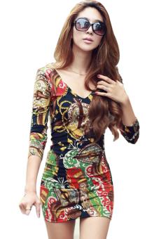 Sunweb Deep V-neck Long Sleeve Flower Print Mini Dress (Multicolor) - Intl