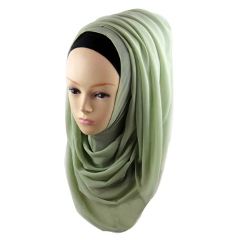 Women Muslim Chiffon Soft Head Neck Wrap Cover Hat Long Shawl Hijab Scarf Light Green (Intl)