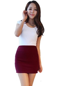 Bluelans Skirt Seamless Stretch Tight Short Fitted Bodycon Clubwear Claret (Intl)