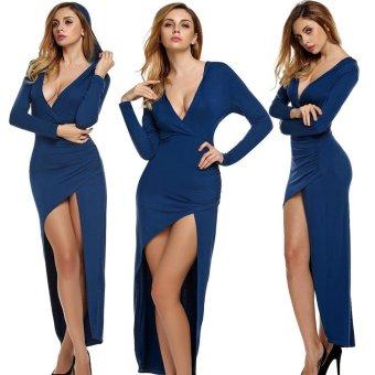 Sunweb Finejo Women Sexy V Neck Long Sleeve Hooded Slim High Slit Long Irregular Dress Party Casual ( Blue ) - intl
