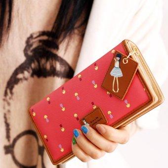 Moonar Fashion women PU leather floral zipper long wallet purse ( watermelon red) - intl