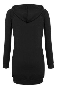 Sunweb Meaneor Casual Hooded Solid Long Sleeve Loose Long Hoodie (Black) - intl