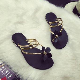 Moonar Women Summer Slippers Flip Flops Flat Beach Thong Shoes (gold) - intl